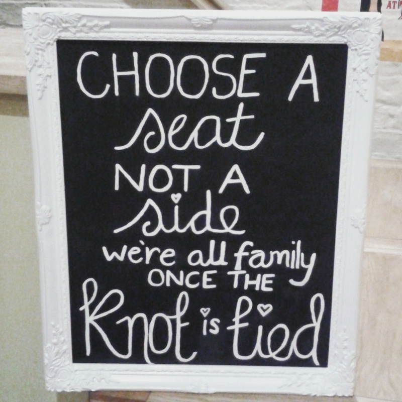 Sign from a wedding
