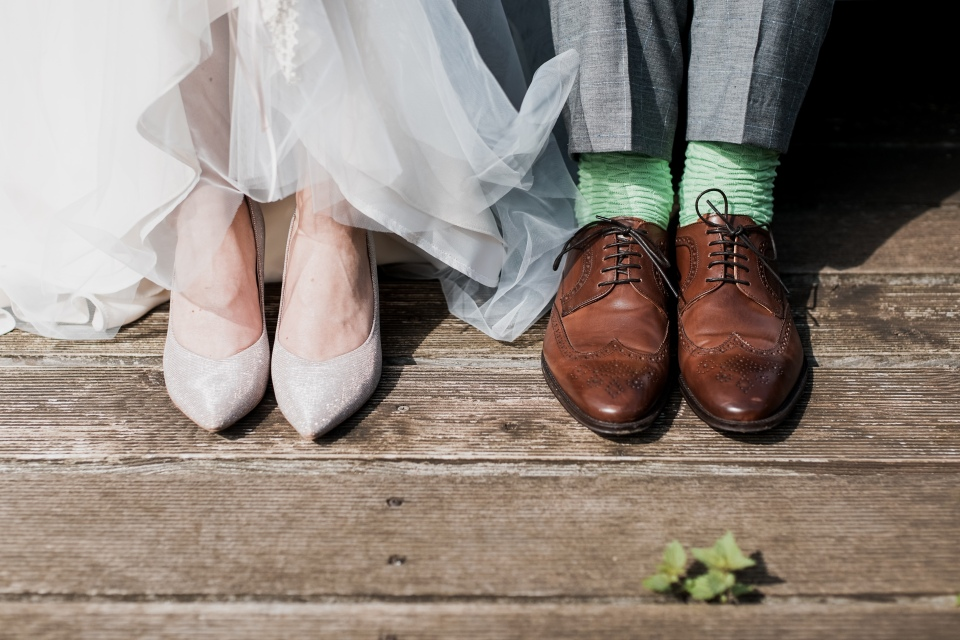 Picture of bride and groom's shoes
